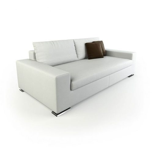White Modern Boxy Sofa Model Obj Mtl 1