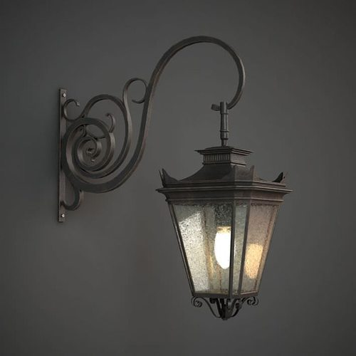 Wall Lights Models : 3D Classic Outdoor Wall Lamp CGTrader