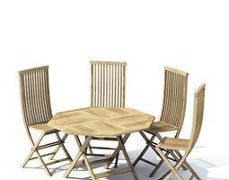 Wooden Outdoor Dining Set 3D