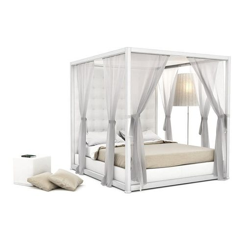 white platform bed with matching curtains 3d model obj mtl 1