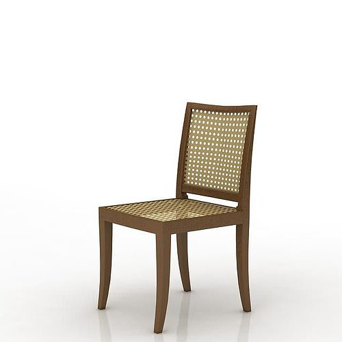 dark wood lattice dining room chair 3d model obj