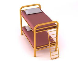 metal bunk bed with ladder 3d