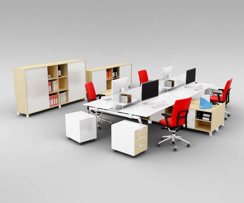 Office interior furniture set 3d model obj cgtrader for Office table 3d design