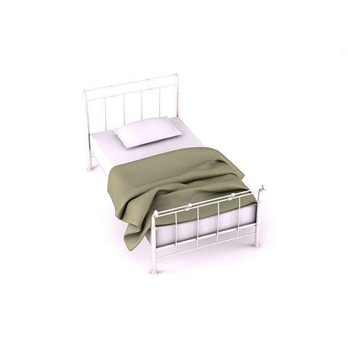 vintage white wireframe bed 3d model  1