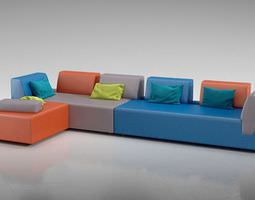modern multicolored sectional 3d
