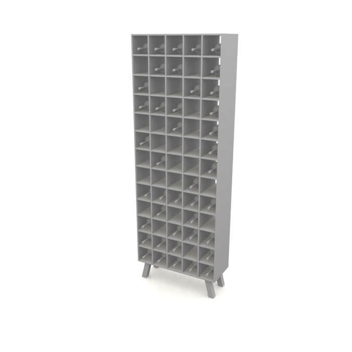 white wooden wine rack 3d model 1