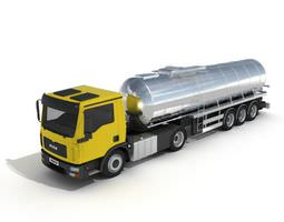 Yellow Cabbed Liquid Container Truck 3D