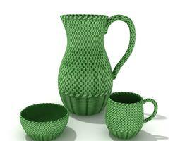 3D model Green Woven Service Set