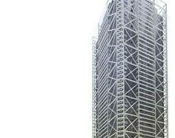 dark metal skyscraper building with scaffolding 3d model