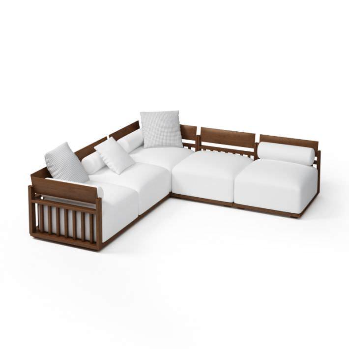 wood frame sectional sofa 3d model - Wood Frame Sofa