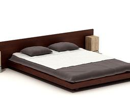 Wooden Large Bed 3D
