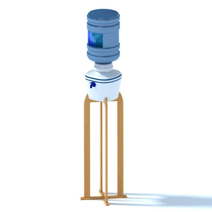 Office Water Cooler With Wooden Stand 3D | CGTrader