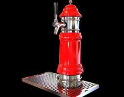 Red Metal Beer Tap 3D model