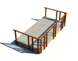 outdoor fenced in patio with wooden railing 3d model