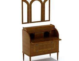 Oak Wood Dresser Bureau With Folding Mirror 3D Model