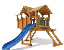 3d model wooden outdoor playground equipment