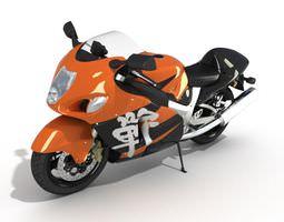 Orange Black Motorbike 3D