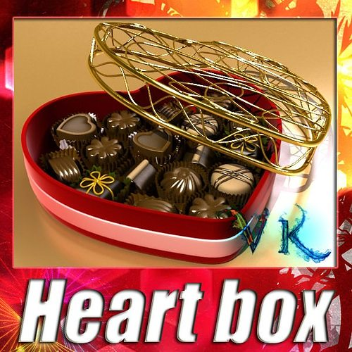 chocolate candy pieces in heart box 3d model max obj mtl 3ds fbx mat 1
