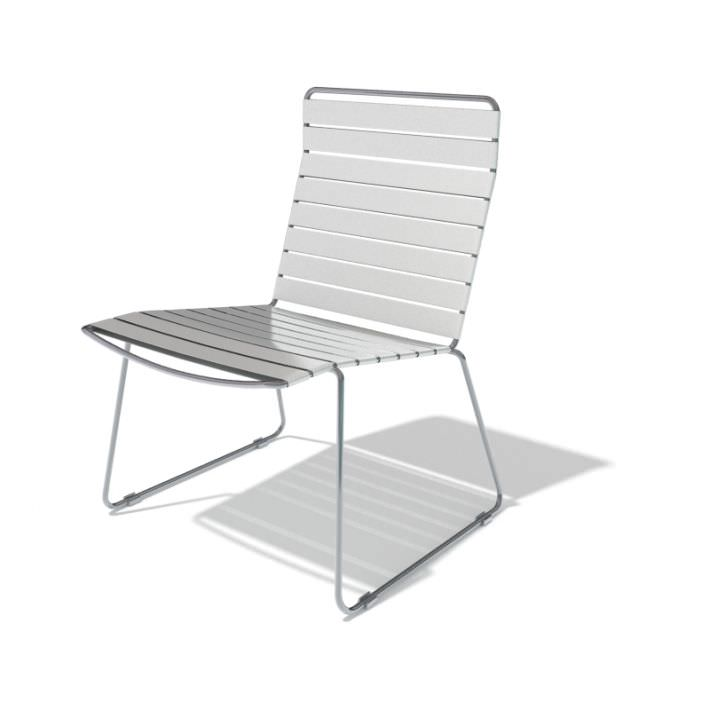 White Metal Outdoor Chair 3d Model