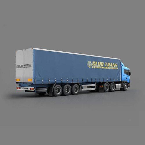 blue glob trans semi truck 3d model max obj mtl 3ds fbx c4d 1