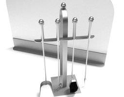 3d silver fireplace tool set