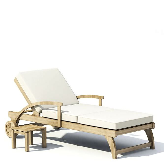 Cream Wood Outdoor Lounge Chair With