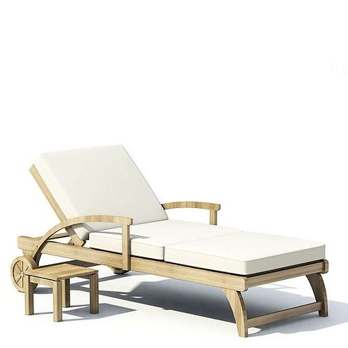 Superbe Cream Wood Outdoor Lounge Chair With White Cushion And Matchi... 3D Model