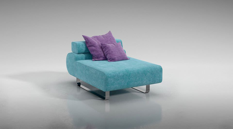 Small Blue Sofa 3d Model Obj