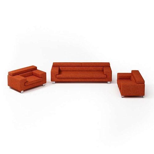 Modern Red Living Room Set 3D Model OBJ