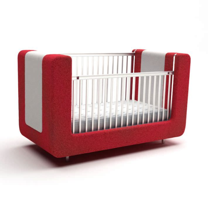 Merveilleux Red And White Sofa Style Baby Crib 3D Model