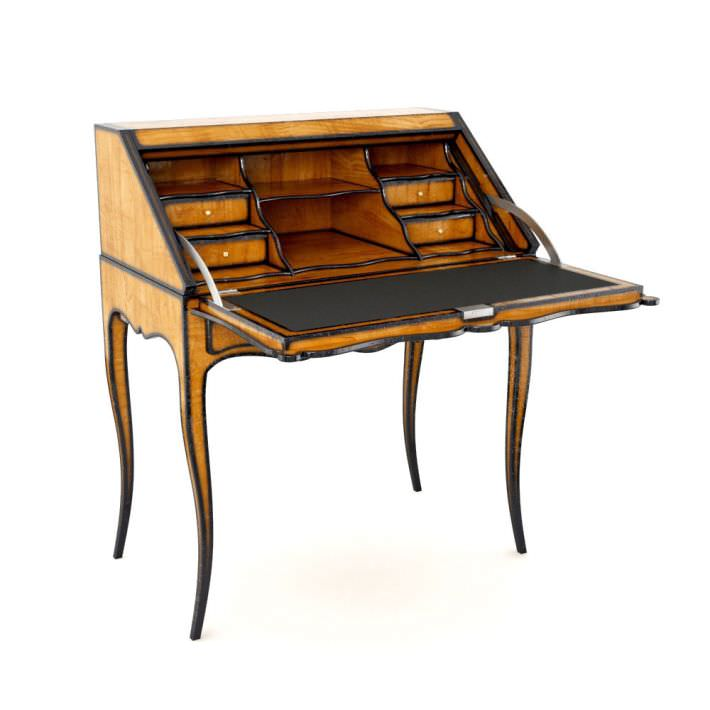 Antique Wooden Escritoire Letter Desk 3d Model Obj 1