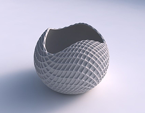 3D printable model Bowl Spheric wavy with grid piramides 2