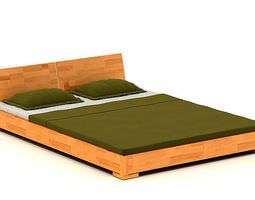 3d model cedar wood platform bed with matching headboard