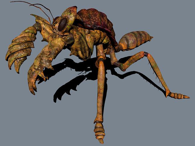 the mole mantis 3d model low-poly obj 1