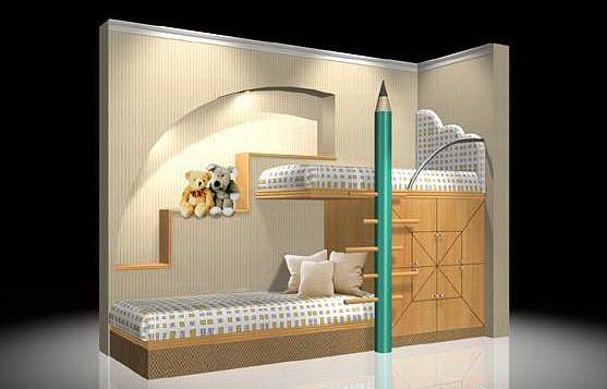 Kids Bedroom 3d Model kids bed 3d model max