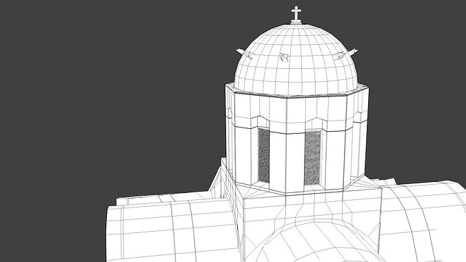 blue dome church in santorini 3d model obj 3ds fbx dxf stl blend 6