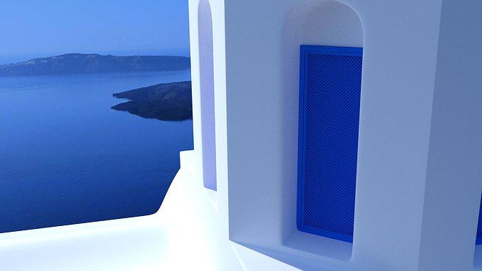 blue dome church in santorini 3d model obj 3ds fbx dxf stl blend 2