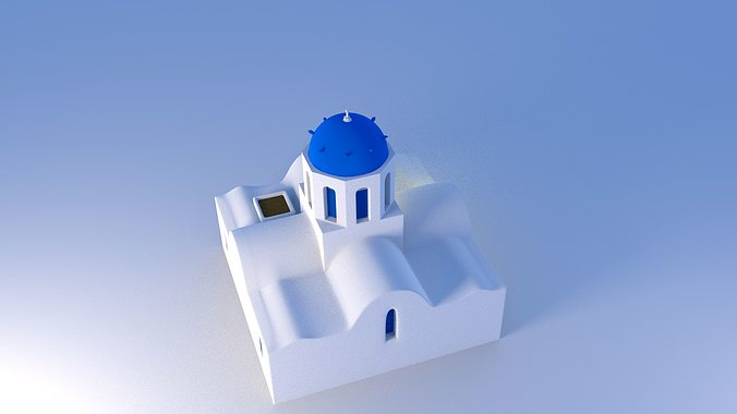 blue dome church in santorini 3d model obj 3ds fbx dxf stl blend 5