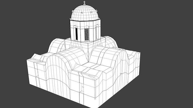 blue dome church in santorini 3d model obj 3ds fbx dxf stl blend 11