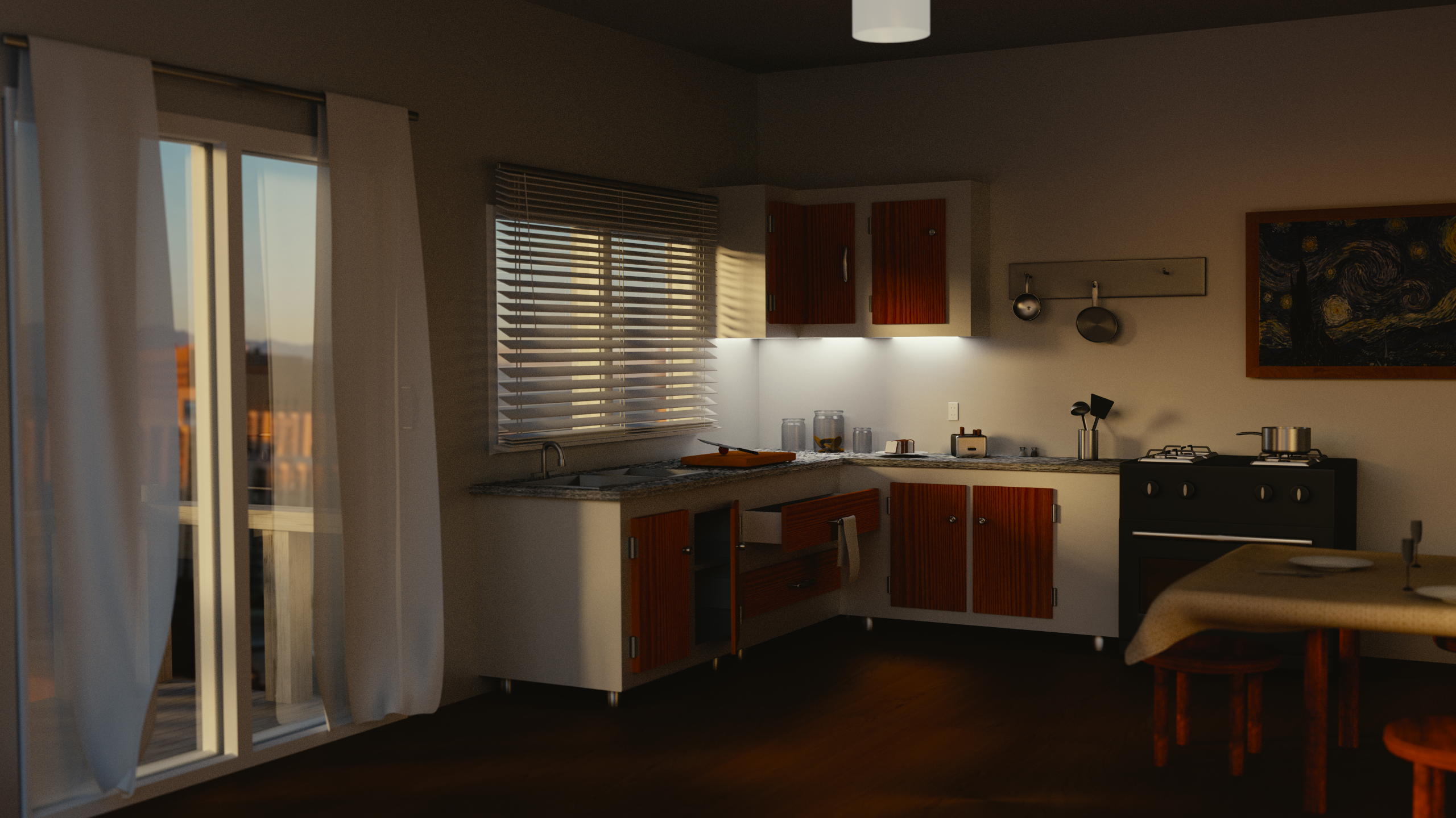 Morning apartment free 3d model obj 3ds fbx blend mtl for Apartment 3d model