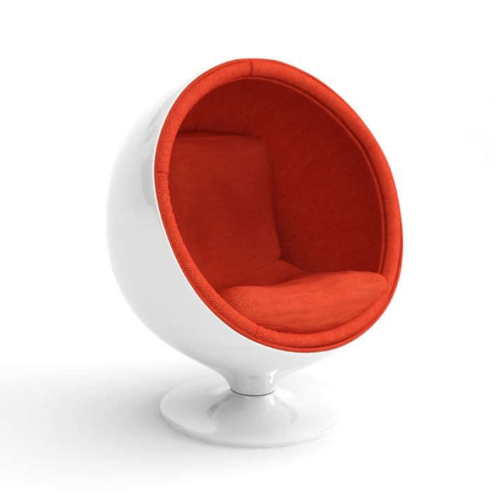 Retro White Egg Chair 3d Model
