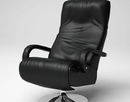 3D Black Leathered Armchair