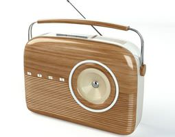 Oldschool Modern Wooden Radio 3D model