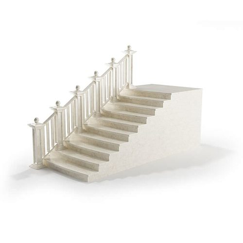 white marble railing 3d model obj 1