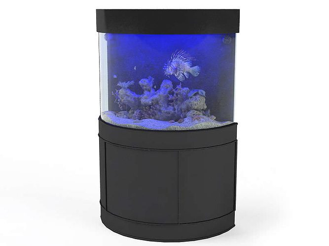 black metal fish aquarium 3d model obj mtl 1