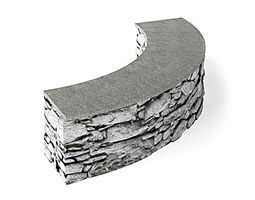 Grey Stone Wall 3D