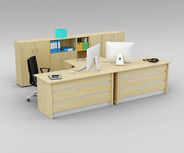 Two Person Office Desk With Matching Cabinets Model