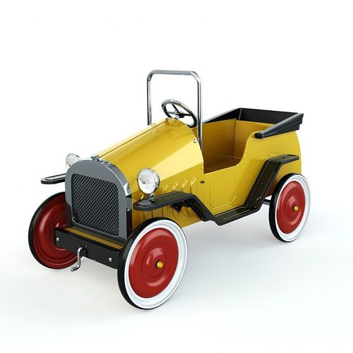 3d Yellow Car With Red Rims Toy Cgtrader