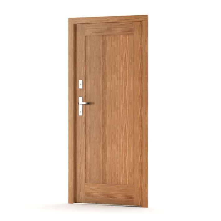 Oak wood door with lock 3d model obj for Door 3d model