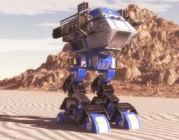3d death walker mech blue